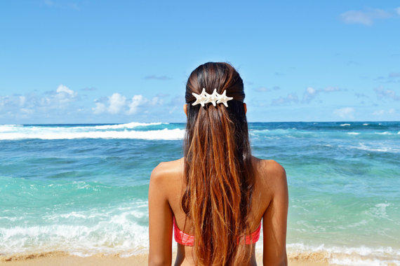 Mariage - Triple White Knobby Starfish Mermaid Barrette - Bridal Accessories, Wedding Hair Clip, Bridal Headpieces, Starfish Hair Accessories