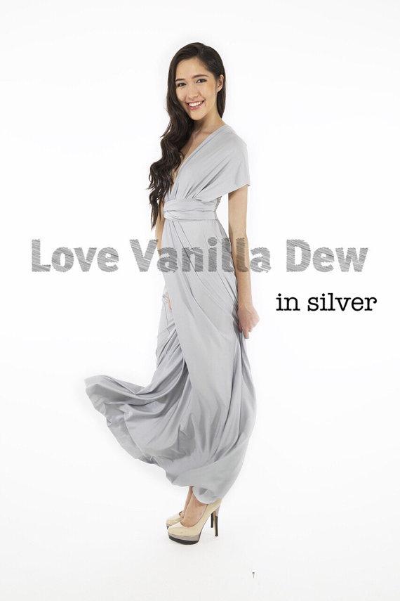 Mariage - Bridesmaid Dress Infinity Dress Silver Floor Length Maxi Wrap Convertible Dress Wedding Dress