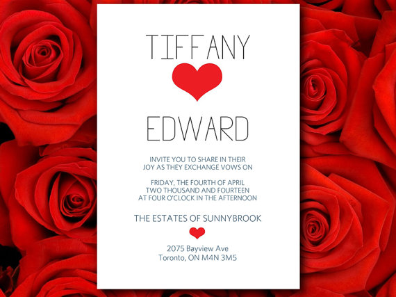 diy download typography with heart wedding invitation microsoft word