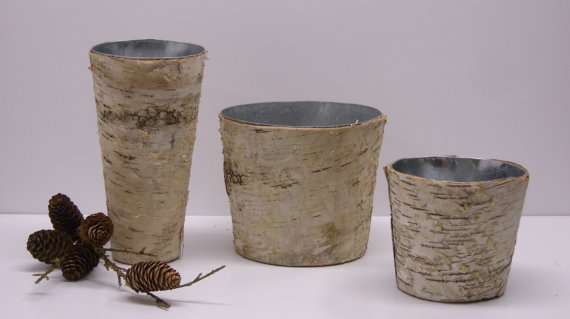 Natural birch bark vase for wedding centerpieces or