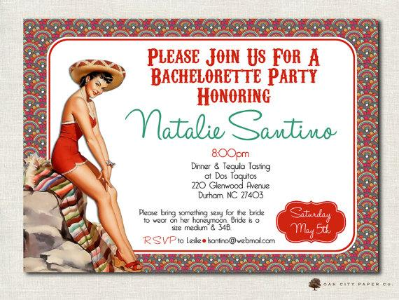Mariage - Bachelorette Invitation - Mexican Theme, Tequila, Margarita, Retro Pin-Up Girl Bachelorette Party Invitation Template, Printable
