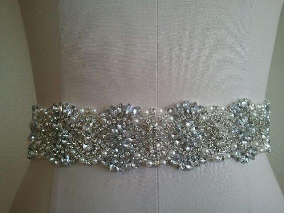 Mariage - SALE -22 inches of beading -Wedding Belt, Bridal Belt, Sash Belt, Crystal Rhinestones & Pearls - Style B2999CL