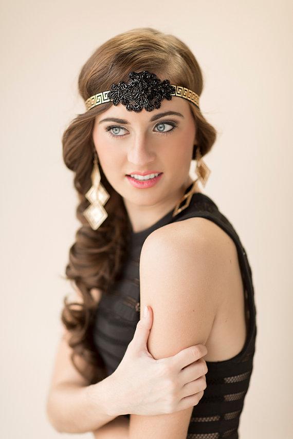 Black Art Deco Headband Gatsby Wedding Headpiece