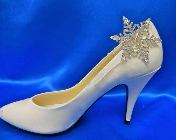 Mariage - Rhinestone Snowflake Shoes, Winter Wedding Shoes, Winter Bridal Shoes, Winter Wedding Accessory, Winter Bridal Accessory