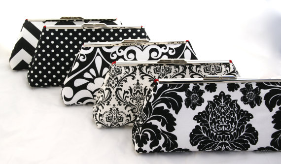 Mariage - Custom Bridesmaids Gift Black and White Bag Clutch Handbag for wedding party - Design your Own from various fabrics