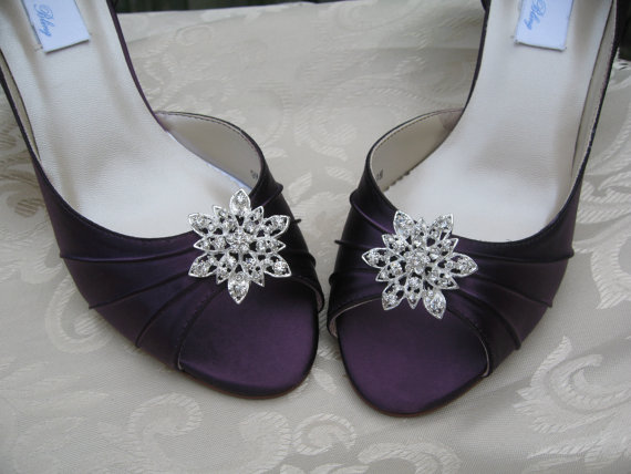 Mariage - Purple Eggplant Bridal Shoes with Crystal Rhinestone Flower Design - Over 100 Color Shoe Choices to Pick From