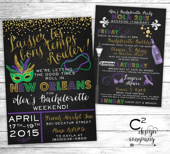 Mariage - Let the Good Times Roll New Orleans Bachelorette Invitation With Itinerary