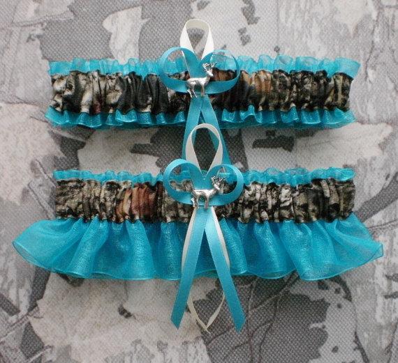 Hochzeit - Mossy Oak Turquoise  PLUS SIZE Wedding Garter Set Camouflage Camo Deer Hunting Hunter