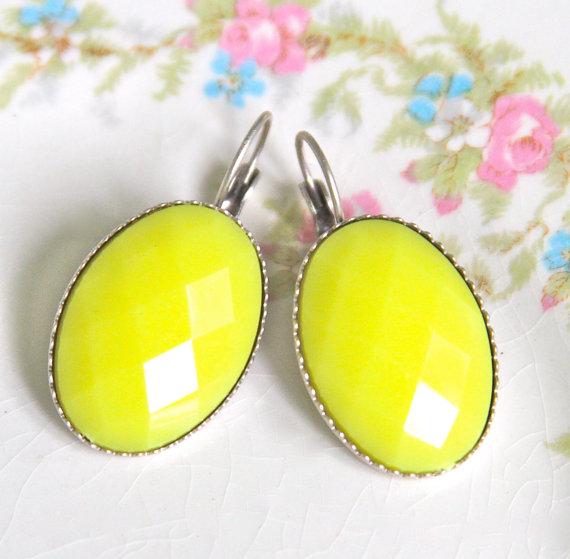 Свадьба - Yellow Oval Silver Plated Lever Back Drop Dangle Earrings - Wedding Earrings, Bridesmaid Earrings, Beach Jewelry,
