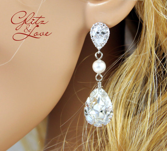 Mariage - Reine - Swarovski Crystal Teardrop Earrings with pearl, Gifts for her, sparkly earrings, bridal jewelry, bridesmaid earrings, wedding