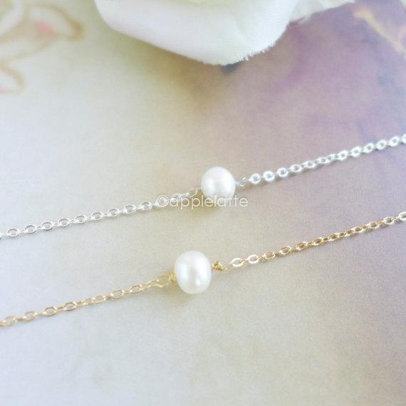 Mariage - single pearl bracelet, Pearl Bracelet, freshwater pearl, Mothers wedding gift, bridesmaid gift