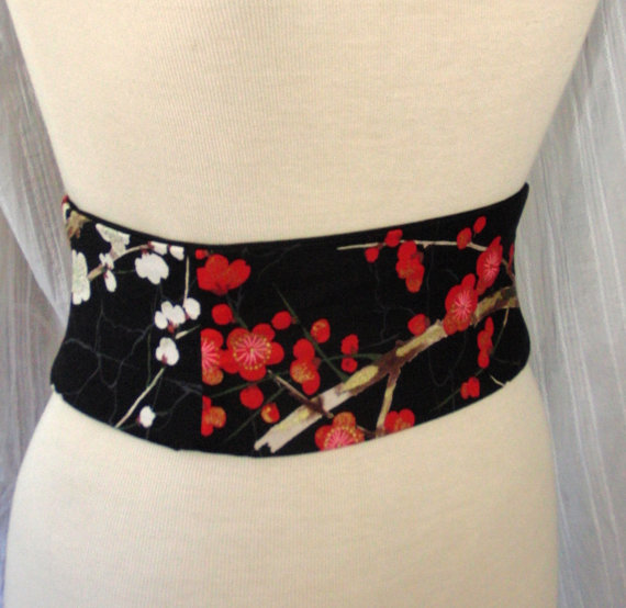 ced21472c3 Cherry Blossom Obi Belt - Waist Cincher Corset Any Size Lace Up Black and  Red