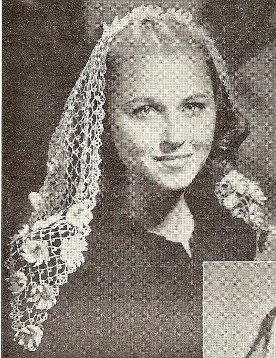 Mariage - Fancy Fascinator Scarf Veil  - Instant Download Digital File - vintage Crochet Pattern - Pattern  77