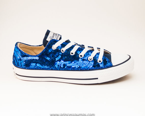 Mariage - Royal Blue Sequin Curl Pattern Canvas  Lo Top Sneakers Shoes
