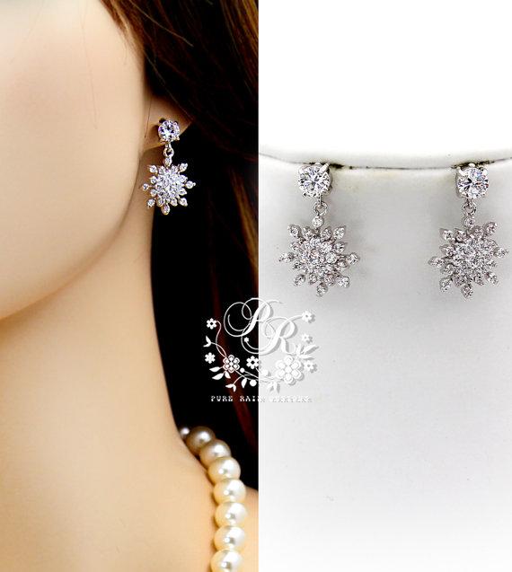 Mariage - Wedding Earrings Zirconia Snowflake Earrings Wedding Jewelry Bridal Earrings Christmas Earrings Snowflake Jewelry Bridesmaid Gift Bridal