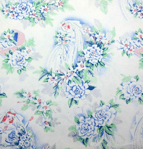 Vintage wedding or bridal shower wrapping paper or gift wrap with vintage wedding or bridal shower wrapping paper or gift wrap with bride rings ring box flowers bouquets mightylinksfo
