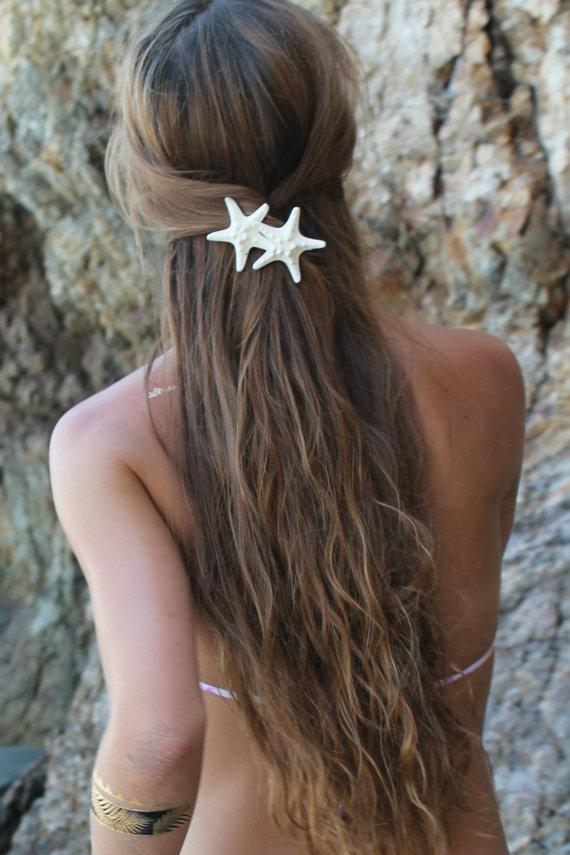 زفاف - Knobby Duo Barrette, Starfish Hair Clip, Mermaid Accessory, Beach Weddings