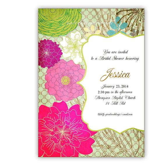 Mariage - Meadow of Flowers Bridal or Baby Shower or Wedding Flowers Invitation - Customizable - jpeg for individuals