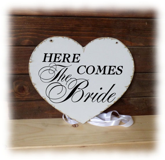 Mariage - Here comes the Bride,Flower girl sign, Wedding Heart shaped sign