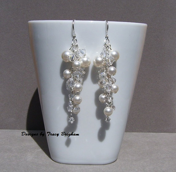 Mariage - White Swarovski Pearl Cluster Wedding Earrings, Cascade Earrings, Bridal Jewelry, Dangle Crystal Pearl Earrings, Bridal Jewelry Customizable