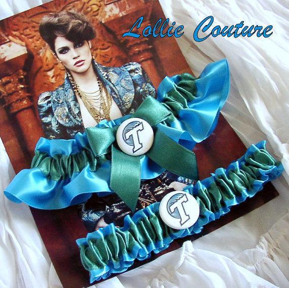 Mariage - Blue Garters Wedding Sports Garters Theme Custom Garter