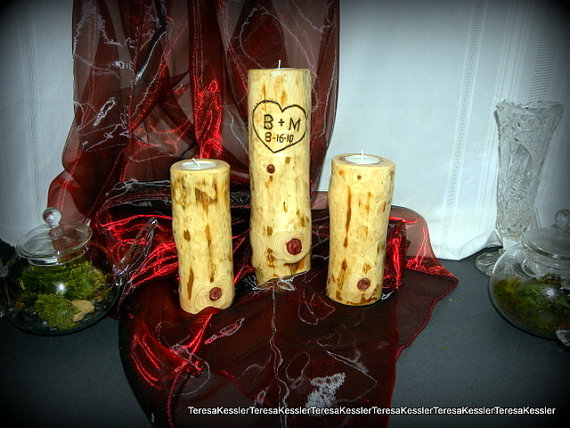 Mariage - Rustic Cedar Candles-My dimpled Wedding unity candles - Anniversary  candles-Set of 3 hand-made candle Holders-Initials and Date Included