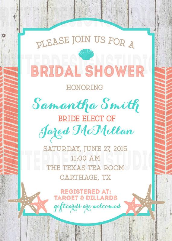 Beach Nautical Bridal Shower Invitation Printable Digital File
