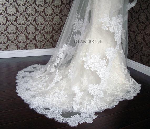 Mariage - Luxury Couture Designer Lace Drop/Circle Veil - Lace Edge & Applique style -Soft Delicate Lace Veil by IHeartBride V-DLA  Estera Applique