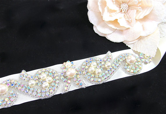 Mariage - Ivory Aurora Borelis Bridal Sash, Crystal Wedding Belt, Ivory Crystal Rhinestone Sash, Wedding Belt, Bridal Sash - BS 0