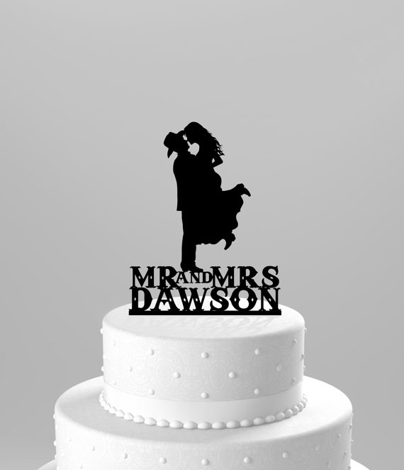 Свадьба - Country Western Wedding Cake Topper Silhouette Cowboy with Hat & both wearing boots, personlized with name - Acrylic Cake Topper [CT17wn]