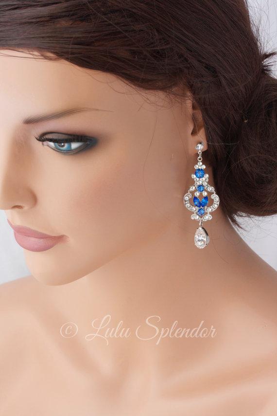 Mariage - Rhinestone Bridal Earrings  Swarovski Crystal Chandelier Wedding Earrings  Montana Blue Sapphire Wedding Jewelry FRANCES MID