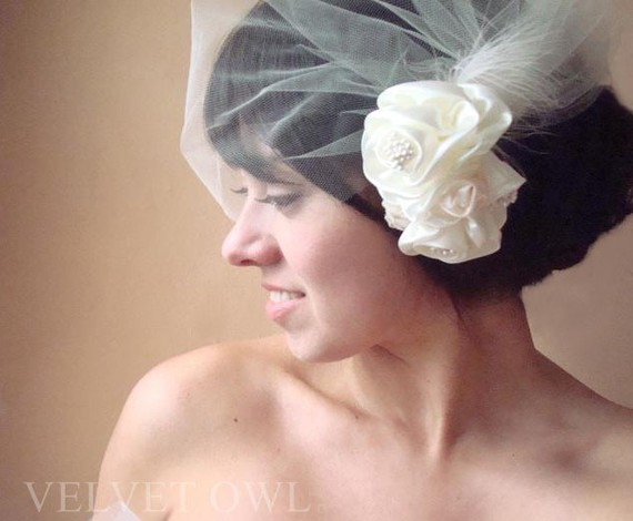 Mariage - Bridal veil and hair clip or comb detachable Ivory tulle blusher birdcage with satin roses tiny pearls fascinator champagne - ROSALIAH