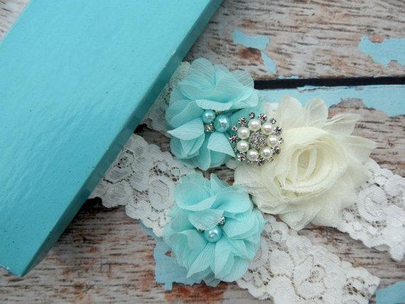 Mariage - Wedding Garter Set / Aqua Blue Garter / You Design  / Bridal Garter / Vintage Garter / Toss  garter / Lace Garter / Garter Belt