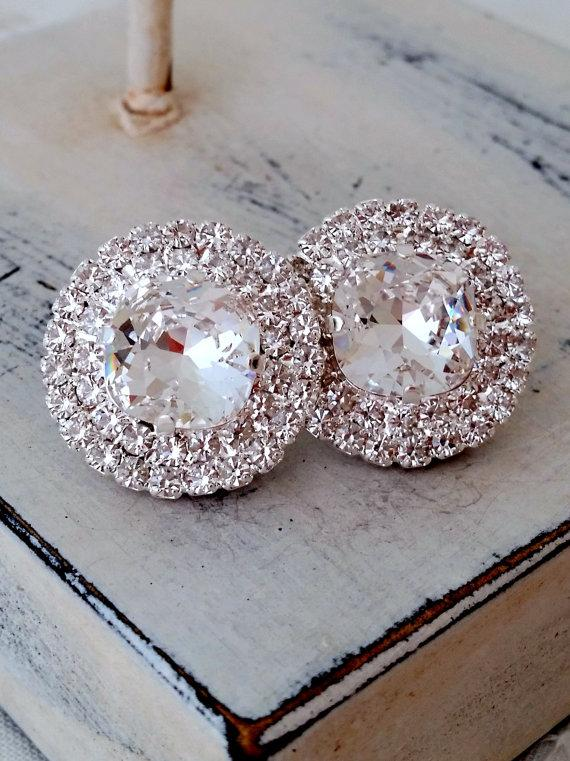 571616ba1 Clear white crystal stud earrings, Bridal stud earring, Bridesmaids gift,  Estate halo earrings, Swarovski large stud earring, silver or gold