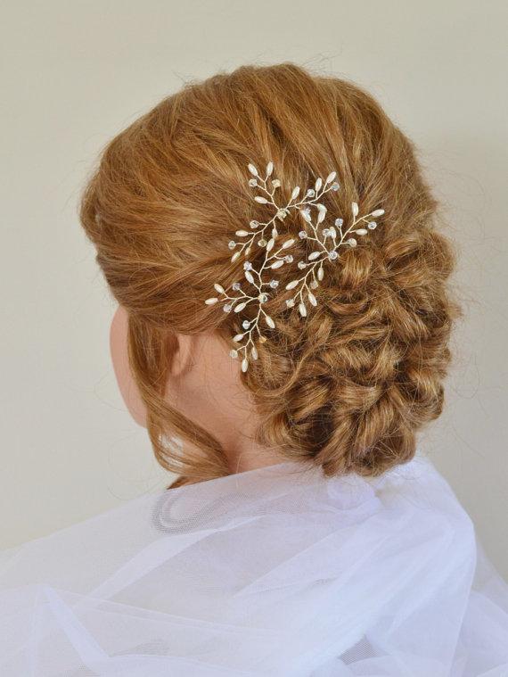 Mariage - Wedding Hair Accessories, Bridal Hair Pins, Swarovski Crystal Rice Pearl Hair Pins,Bridal Hair Accessory, Set of 3