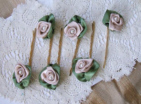 Mariage - 6-Rose & Pearl Hair Pins Handmade Ribbon Rose Champagne