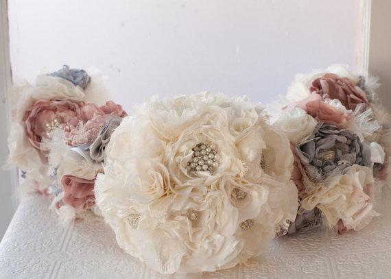 Mariage - Fabric Flower Wedding Bouquet, Fabric Brooch Bouquet,  bridal flower rhinestone and pearl brooches, silk flowers, silver gray grey broaches
