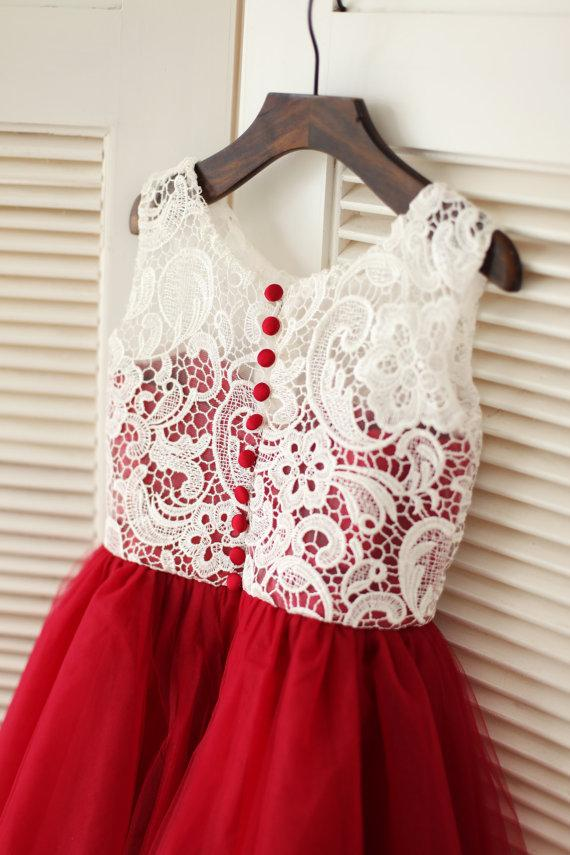 Nozze - Red Tulle Ivory Lace Flower Girl Dress Children Toddler Dress for Wedding Junior Bridesmaid Dress