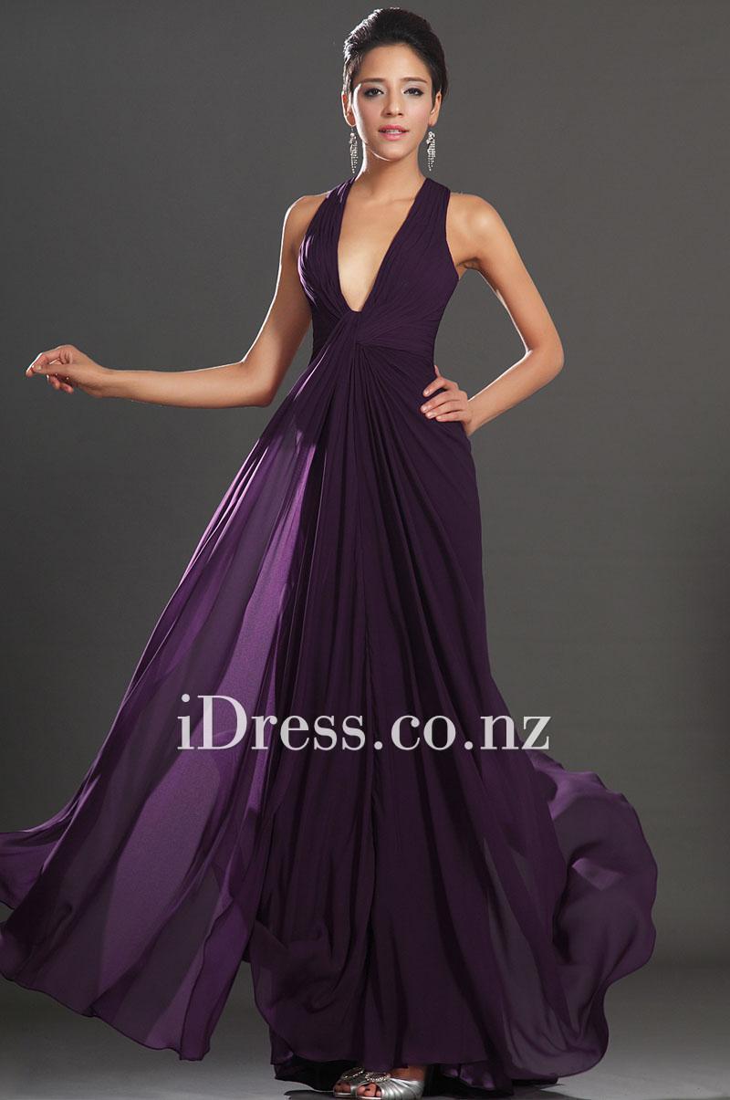 Свадьба - Eggplant Plunging V Neck Shoulder Straps Back X Sheath Chiffon Formal Dress