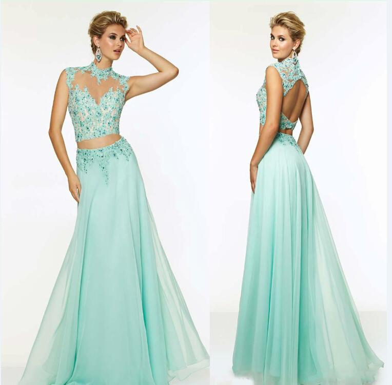 Mariage - Evening Dresses Crystal High Neck Beads Chiffon Applique Backless Two Pieces Formal Pageant Party Long Prom Ball Gowns 2015 Custom Made Online with $100.58/Piece on Hjklp88's Store