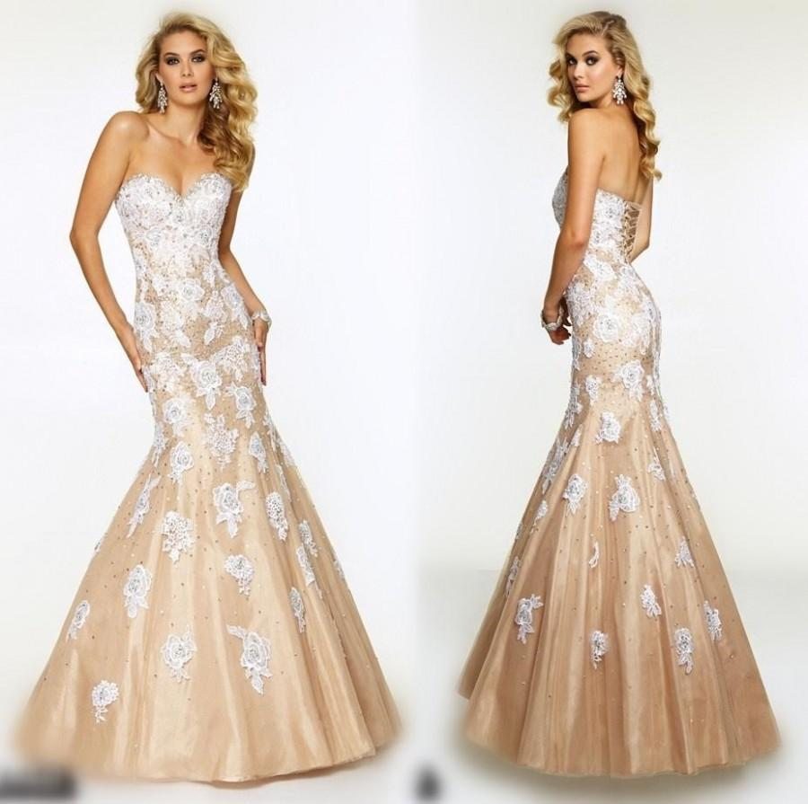 Elegant 2017 Mermaid Evening Dresses Beaded Sweetheart White Lace Liques With Champagne Party Trumpet Sweep Train Formal Gowns Prom Dress Online