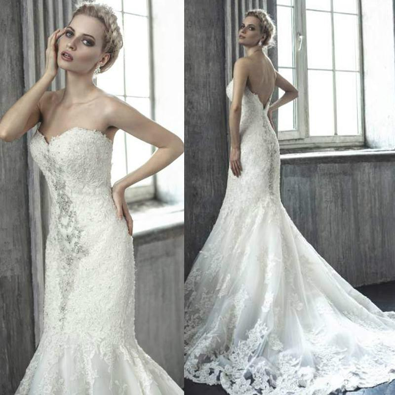 Hochzeit - Sexy Mermaid Wedding Dresses Sweetheart Lace Applique Crystal Trumpet Beads Chapel Train Bridal Gowns Spring Summer Custom Made Cheap 2015 Online with $136.18/Piece on Hjklp88's Store