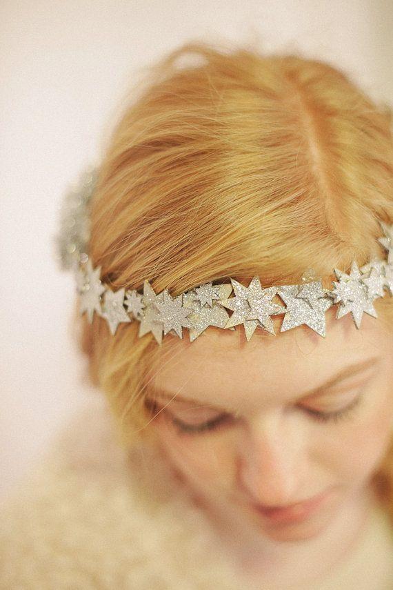 Mariage - Glitter Star Crown, Star Circlet, Winter Crown, Glitter Star Tiara, Celestial Crown, Night Sky Tiara