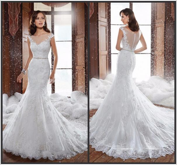 Elegant 2015 lace wedding dresses sheer spring beads for Country wedding dresses cheap