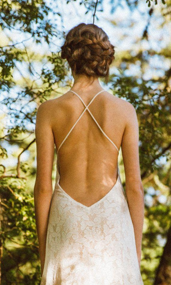 Düğün - Sexy Backless Lace Gown, Wedding Gown, Ivory Wedding Dress, Open Back Gown, Low Back Dress, Boho Bride, Lace Dress, Beach Bride Dress