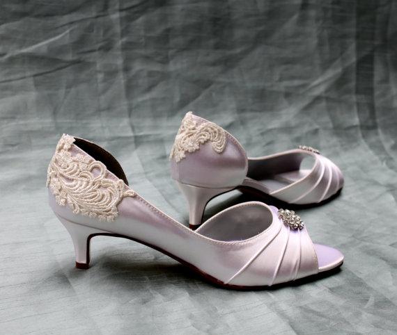 زفاف - Ivory Wedding shoes - Wedding shoe low heel Size 8.5 - vintage shoes - Alana