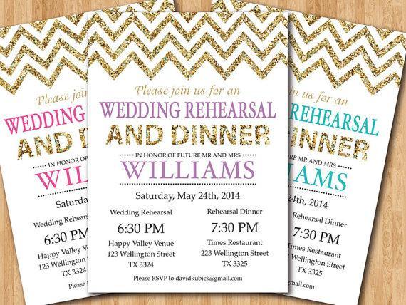 Wedding - Wedding Rehearsal and Dinner Invitation. Glitter Gold Chevron. Pink, Purple, Blue, any color. Printable Digital DIY.