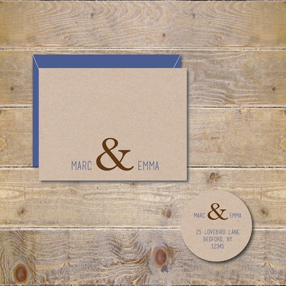 Ampersand Wedding Thank You Cards Bridal Shower Rustic Affordable
