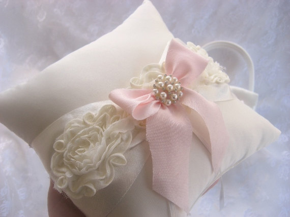 Wedding - Chic Wedding Ring Pillow ..  Ring Bearer Pillow Pink Shabby Chic Vintage Ivory and Cream Custom Colors too