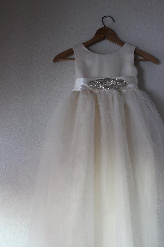 Wedding - Flower girl dress Ivory flower girl dress with rhinestone sash Cotton dress
